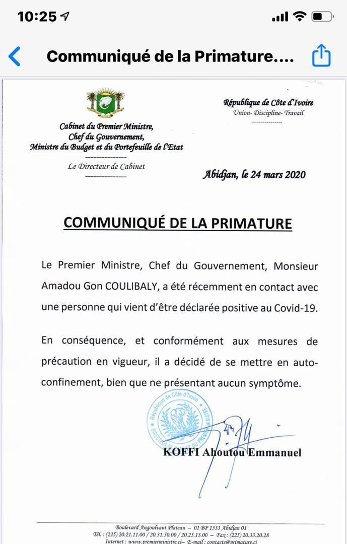 Covid19: le premier ministre ivoirien Gon Coulibaly s'est auto-confiné après voir été en contact avec une personne déclarée positive