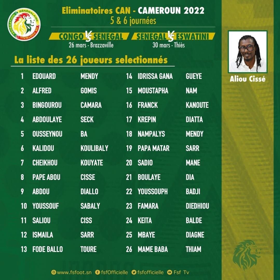 Urgent : les 22 lions convoqués par aliou Cissé